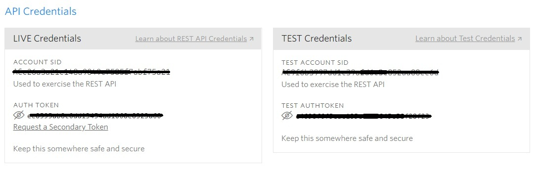 twilio credential console